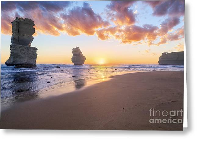 12 Apostles With Marshmallow Skies Greeting Card by Ray Warren