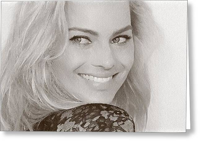 Beautiful Actress Margot Robbie Greeting Card by Best Actors