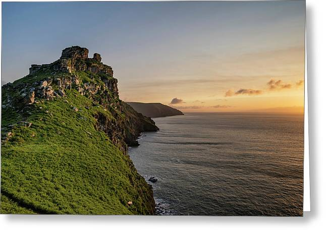 Beautiful Evening Sunset Landscape Image Of Valley Of The Rocks  Greeting Card