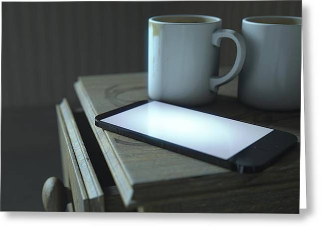 Bedside Table And Cellphone Greeting Card