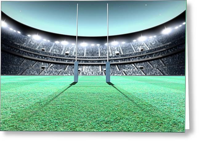 Floodlit Stadium Night Greeting Card by Allan Swart