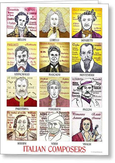 12 Italian Composers Greeting Card by Paul Helm