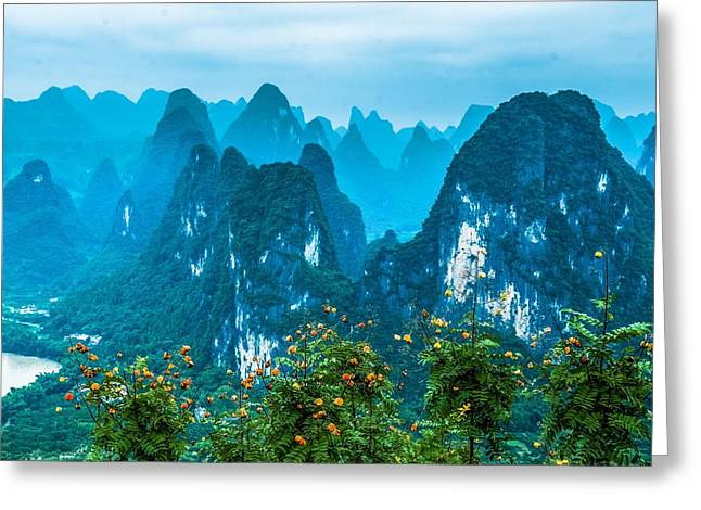 Greeting Card featuring the photograph Karst Mountains Landscape by Carl Ning