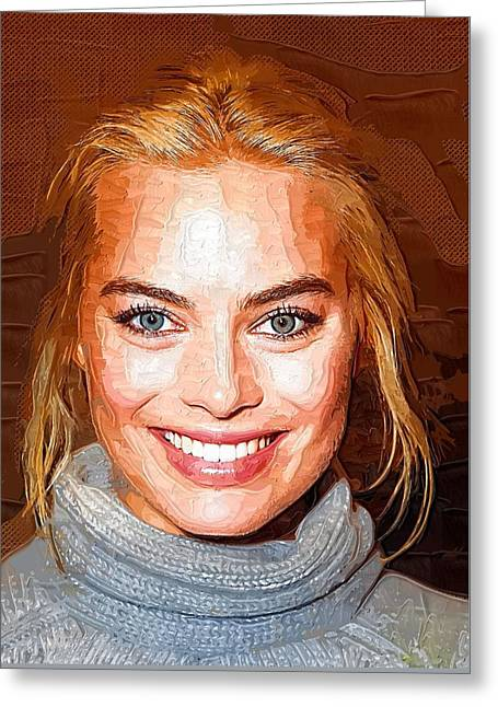 Margot Robbie Print Greeting Card by Best Actors