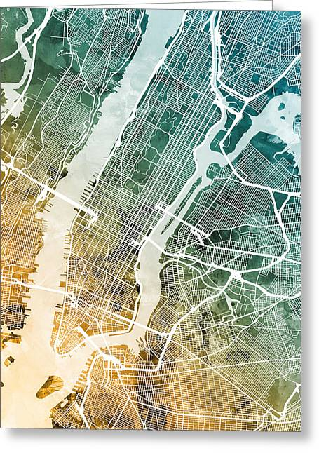 New York City Street Map Greeting Card