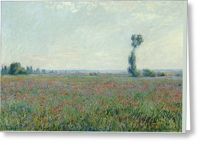 Poppy Field Greeting Card by Claude Monet