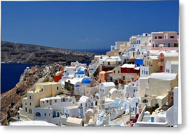 Santorini Greeting Cards - Santorini Island. Greeting Card by Fernando Barozza