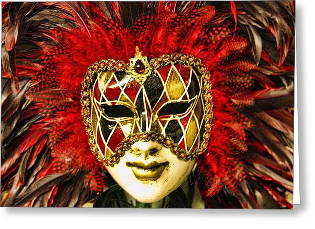 Venetian Carnaval Mask Greeting Card by David Smith