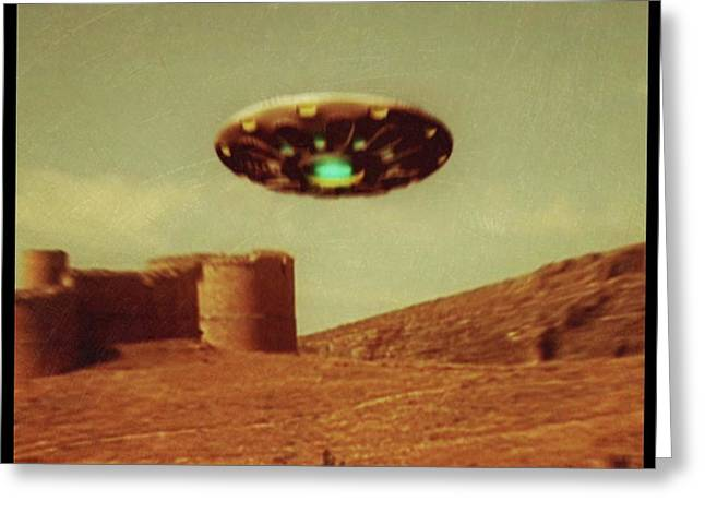 Vintage Style Ufo Alien By Raphael Terra Greeting Card by Raphael Terra