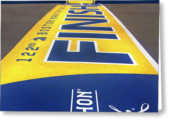 Greeting Card featuring the photograph 122nd Boston Marathon Finish Line by Joann Vitali