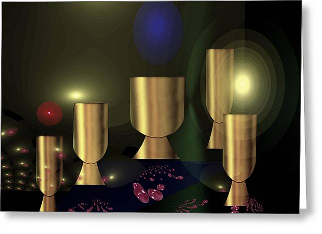 1235 - Golden Goblets Greeting Card by Irmgard Schoendorf Welch