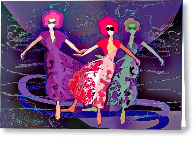 1227 - Dusk Dancers Greeting Card by Irmgard Schoendorf Welch