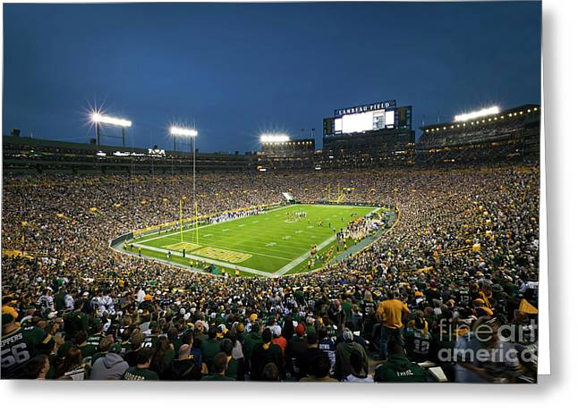 1256  Under The Lights At Lambeau Field Greeting Card by Steve Sturgill