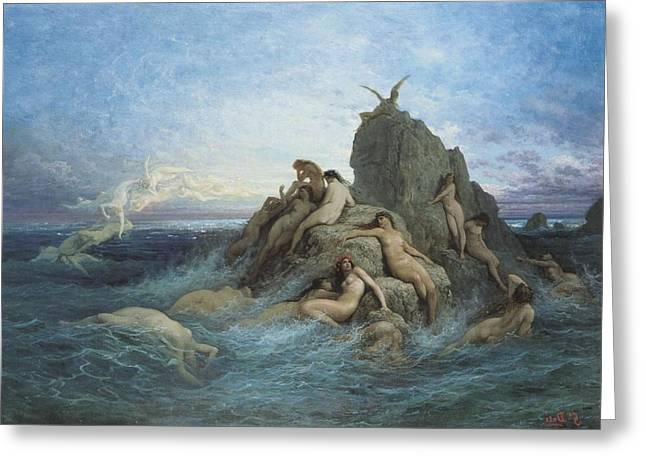 127653 Gustave Dore Painting Sea Rock Nude Mythology Classic Art Greeting Card