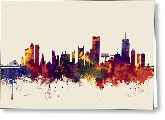 Boston Massachusetts Skyline Greeting Card