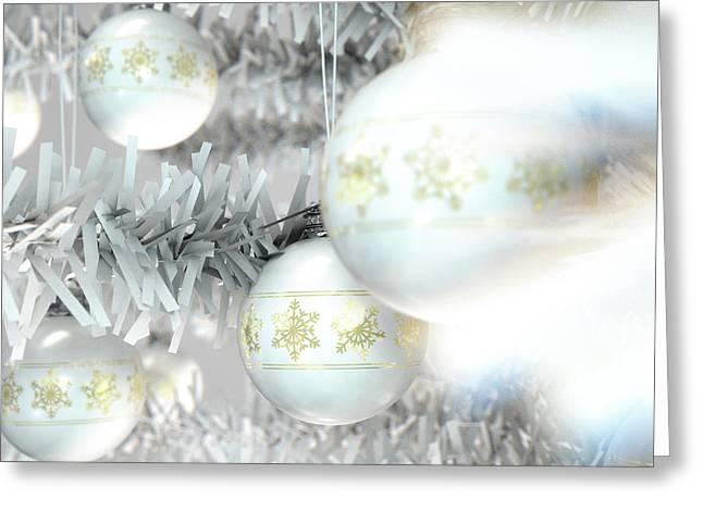 Christmas Baubels In A Tree Greeting Card by Allan Swart
