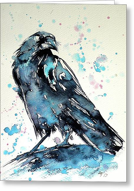 Greeting Card featuring the painting Crow by Kovacs Anna Brigitta