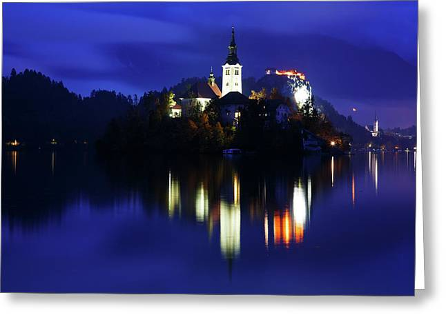 Dusk Over Lake Bled Greeting Card