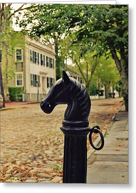 Nantucket Hitching Post Greeting Card by JAMART Photography