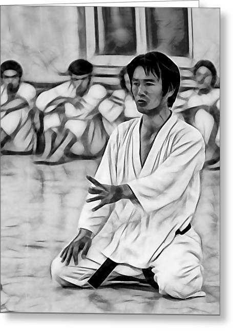 Martial arts fine art greeting cards greeting card featuring the mixed media karate masters collection by martial arts fine art m4hsunfo