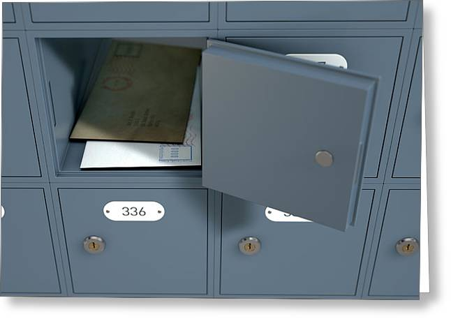 Post Office Boxes Greeting Card by Allan Swart