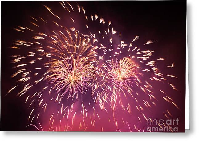 Spectacular Fireworks Show Light Up The Sky. New Year Celebration. Greeting Card by Michal Bednarek