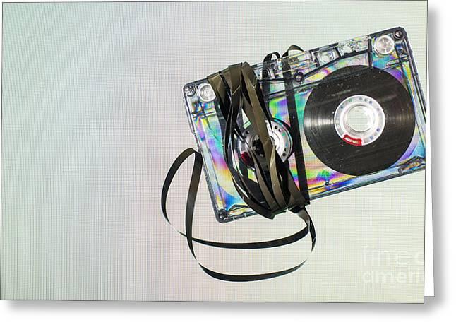 Vintage Cassette Tape Greeting Card by Deyan Georgiev