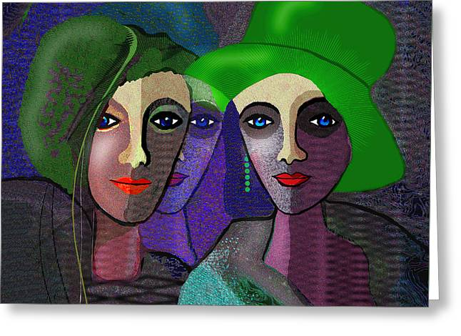 1300 - Green Hats Greeting Card by Irmgard Schoendorf Welch