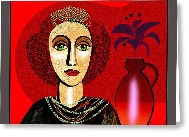 1327 - Girl With Pearl Necklet And Vase 2017 Greeting Card by Irmgard Schoendorf Welch