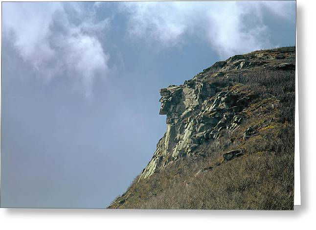 Greeting Card featuring the photograph 135701 Old Man Of The Mountain Nh by Ed Cooper Photography