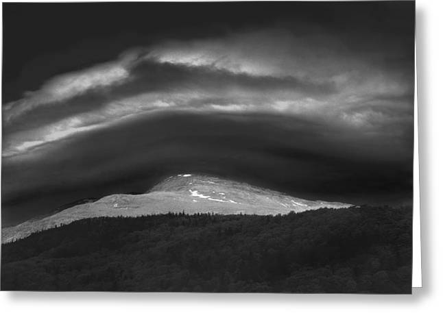 Greeting Card featuring the photograph 135765 Mt. Washington Lenticular Cloud Nh by Ed Cooper Photography