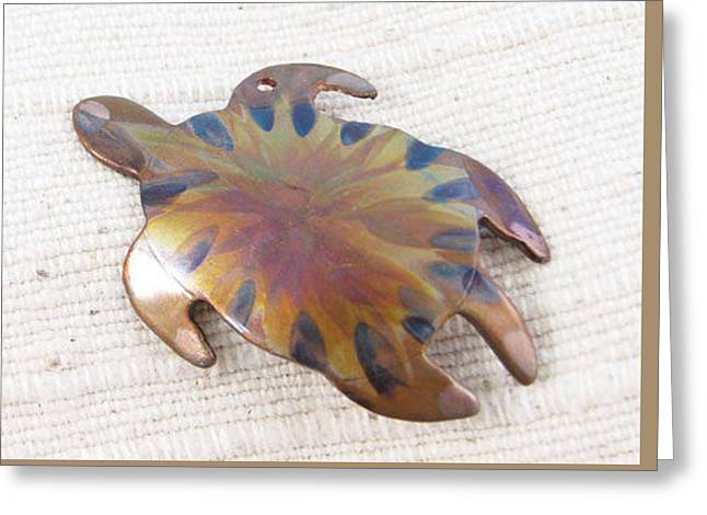 1377 Turtle Pendant Greeting Card by Dianne Brooks