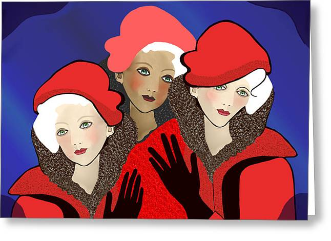 1391 - Three Chicks In Red 2017 Greeting Card by Irmgard Schoendorf Welch