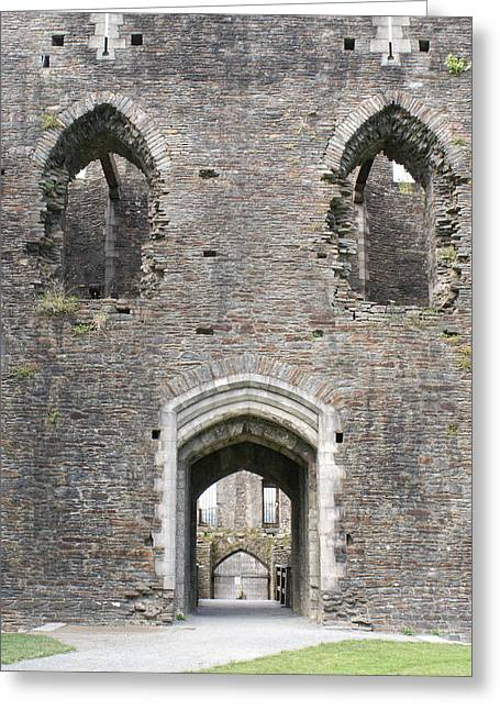 Caerphilly Castle Greeting Card by Carol Ailles