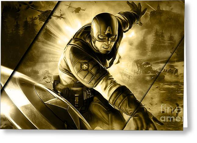 Captain America Collection Greeting Card by Marvin Blaine