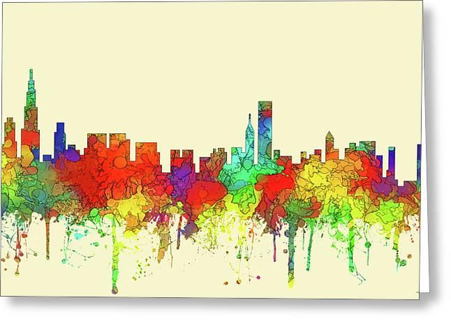 Chicago Illinois Skyline Greeting Card by Marlene Watson