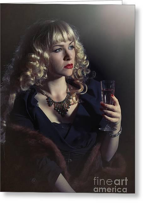 Film Noir Woman Greeting Card by Amanda Elwell
