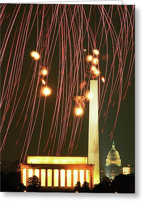 Fireworks Over Washington Dc Mall Greeting Card by Carl Purcell