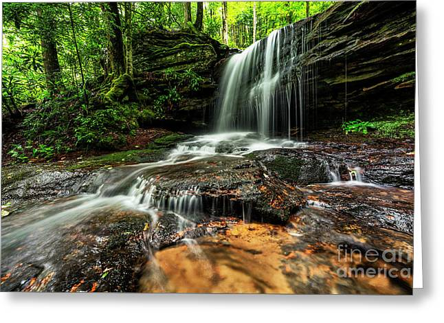 Lin Camp Branch Waterfall Greeting Card by Thomas R Fletcher