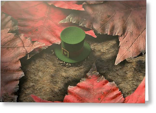 Lost Tiny Leprechaun Hat  Greeting Card