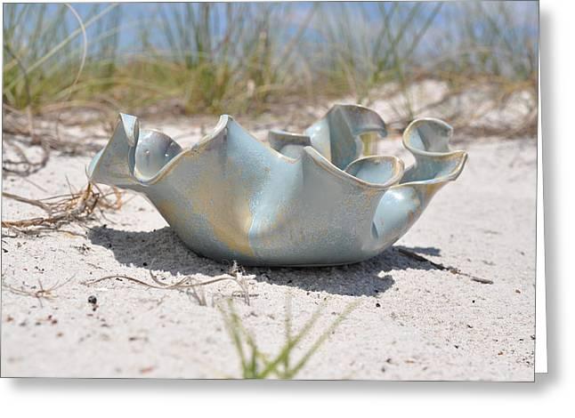 Ceramics Greeting Cards - Medium Wave Bowl Greeting Card by Gibbs Baum