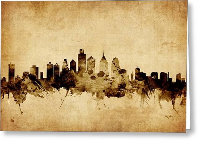 Philadelphia Pennsylvania Skyline Greeting Card by Michael Tompsett