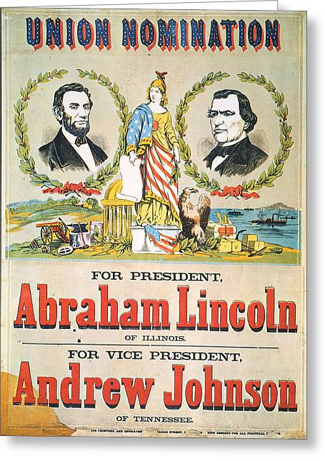 Vice Presidents Greeting Cards - Presidential Campaign, 1864 Greeting Card by Granger