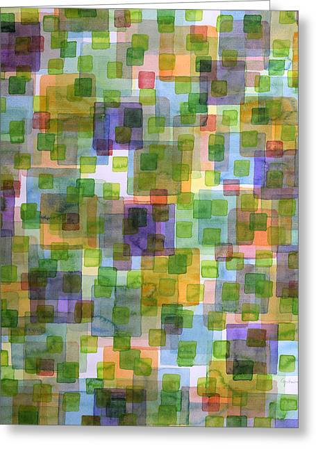 Large Squares Covered By Small Green Squares  Greeting Card by Heidi Capitaine