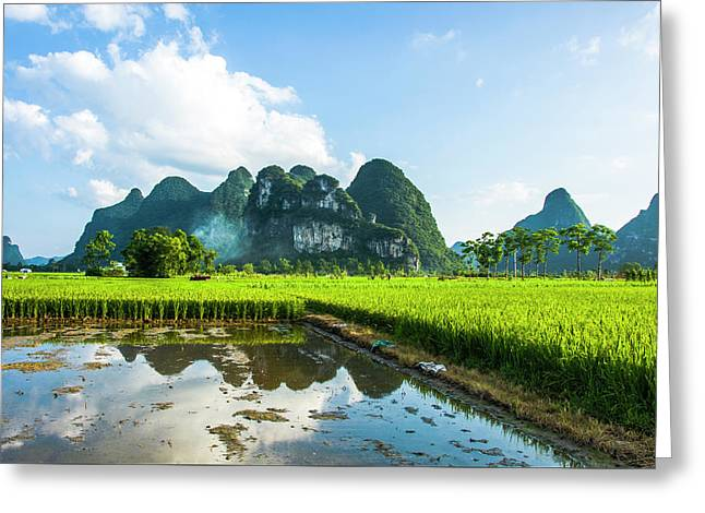 Greeting Card featuring the photograph The Beautiful Karst Rural Scenery by Carl Ning