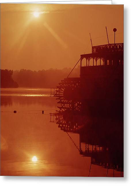 Greeting Card featuring the photograph 148223 Mississippi River Sternwheeler  Ga by Ed Cooper Photography