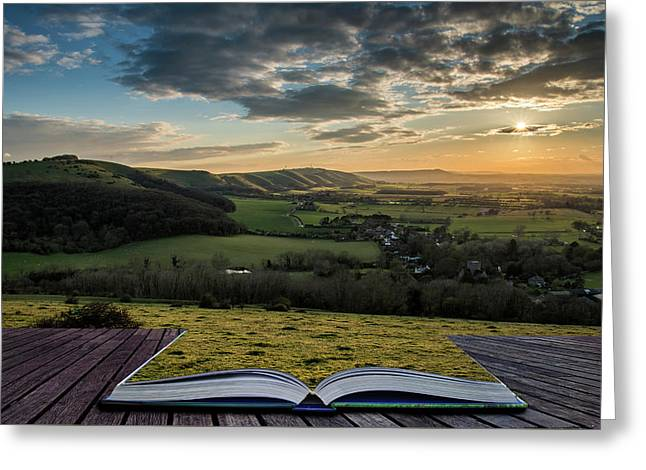 Beautiful Landscape Image Of Sunset Over Countryside Landscape I Greeting Card