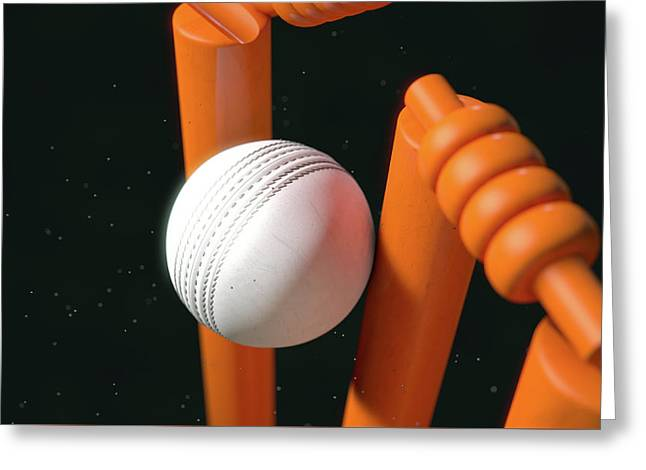 Cricket Ball Hitting Wickets Greeting Card