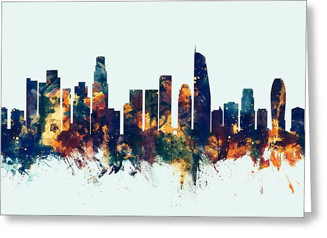 Los Angeles California Skyline Greeting Card by Michael Tompsett