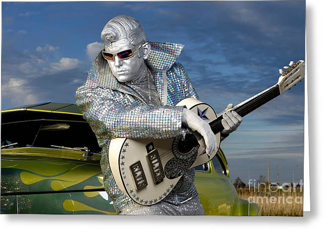 Silver Elvis Greeting Card by Oleksiy Maksymenko